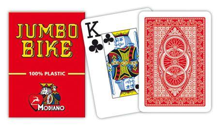 Modiano BIKE TROPHY 2 rohy 100% plastové karty - Červené