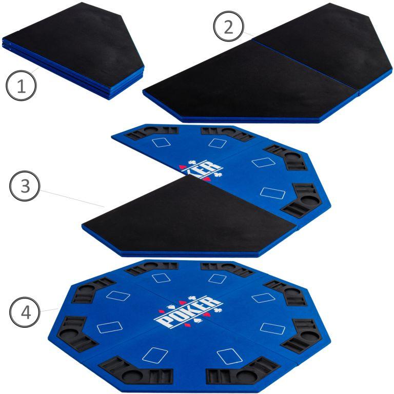 Skládací pokerová podložka - modrá