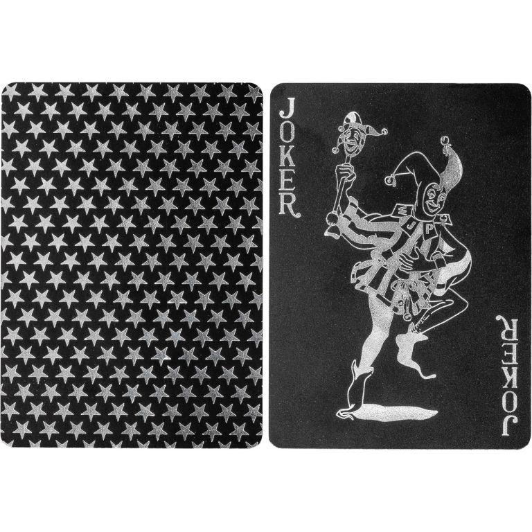 Poker karty plastové - černé/stříbrné